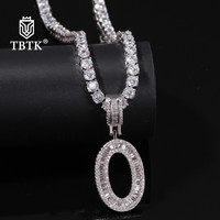 TBTK New Sliver A Z Alphabet Initial Letter Pendant Iced Out Zirconia Tennis Chain Necklace Charms Jewelry Gifts Unisex