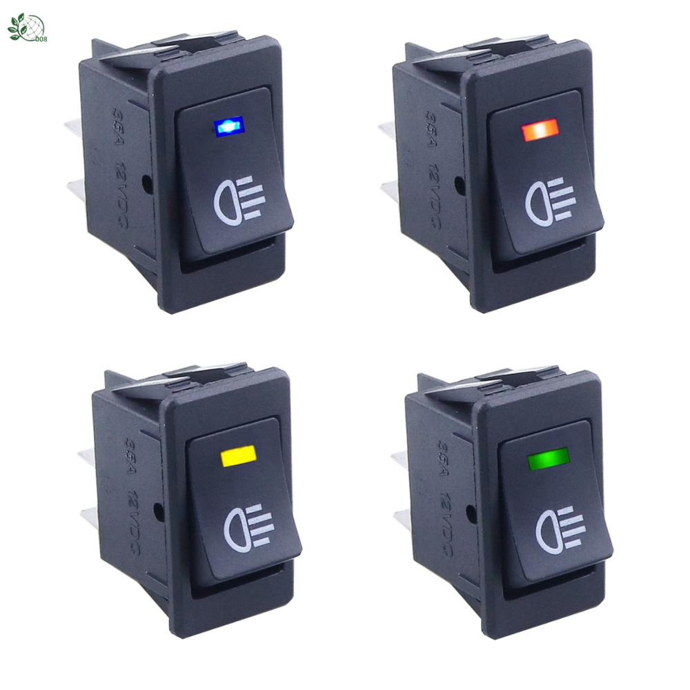 Universal Car Auto Fog Light Rocker Toggle Switch B35 DC 12V 35A 4Pins LED Dashboard LED Color Red Green Amber Blue White