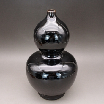 Collection of Antique Black Glazed Gallbladder Vases Made in Yongzheng Year of Qing Dynasty