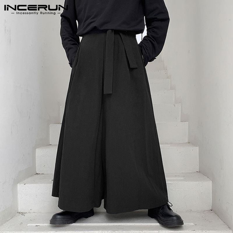 INCERUN Vintage Men Wide Leg Pants Streetwear Lace Up Joggers Cotton Solid Baggy Casual Trousers Men 2020 Long Pants Plus Size 7