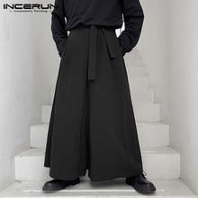 Casual Trousers Leg-Pants Joggers Cotton Streetwear INCERUN Vintage Men Wide Baggy Plus-Size