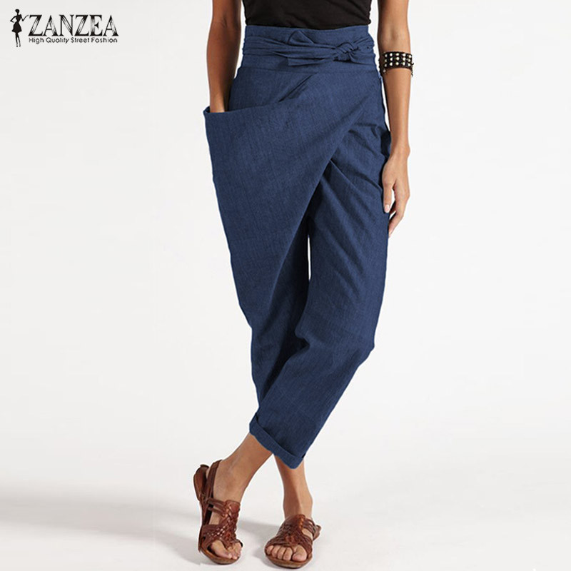 2019 ZANZEA Elegant Turnip Pantalon Casual Long Palazzo Women's Harem Pants Fashion Big Pockets Zipper Cropped Trouser Plus Size