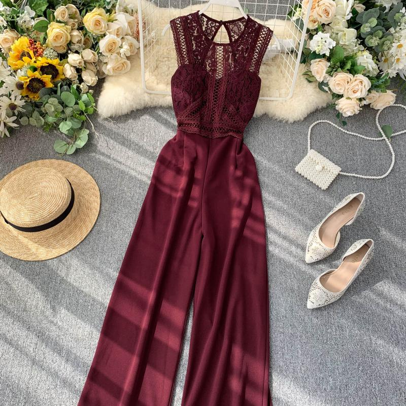Elegant High Waist Hip Wide Leg Patchwork Lace Hollow Out Sleeveless Jumpsuit 13