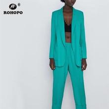 ROHOPO Women Turquoise Chic Blazer Autumn Female Notched Straight Ladies Veste #2240