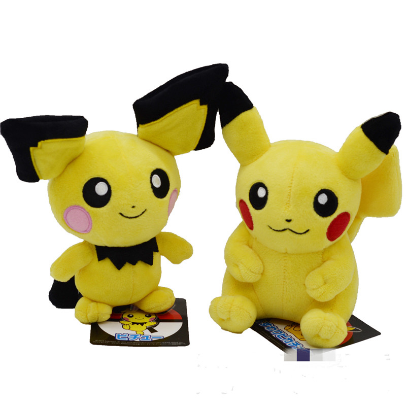 Takara Tomy Pokemon Pichu Pikachu Plush Doll Toy Lovely Pikachu Juvenile Version Stuffed Toy Collection Doll Kids Birthday Gift