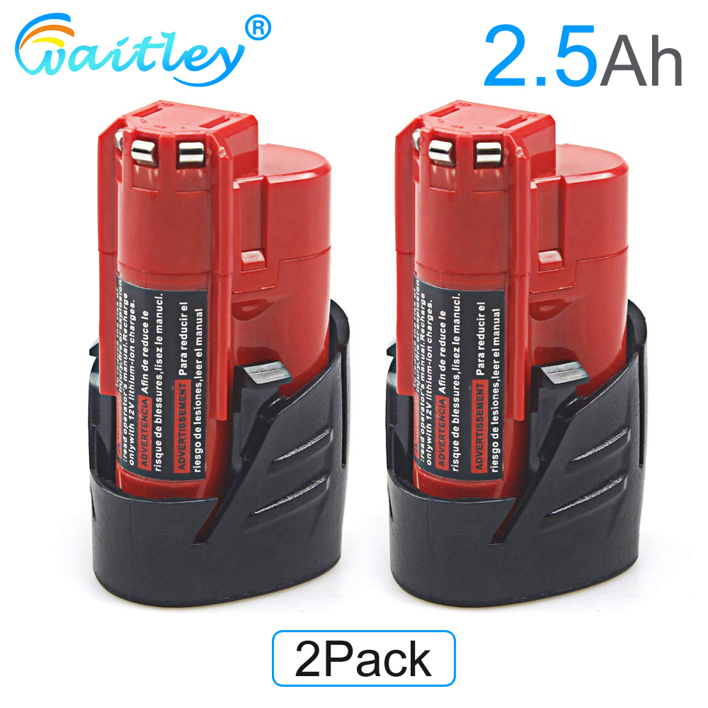 Waitley 2Pack 12V 2.5Ah LI ION 2500mAh Battery for Milwaukee M12 XC Cordless Tools 12 v 48 11 2440 48 11 2402 48 11 2411 Replacement Batteries Consumer Electronics - title=