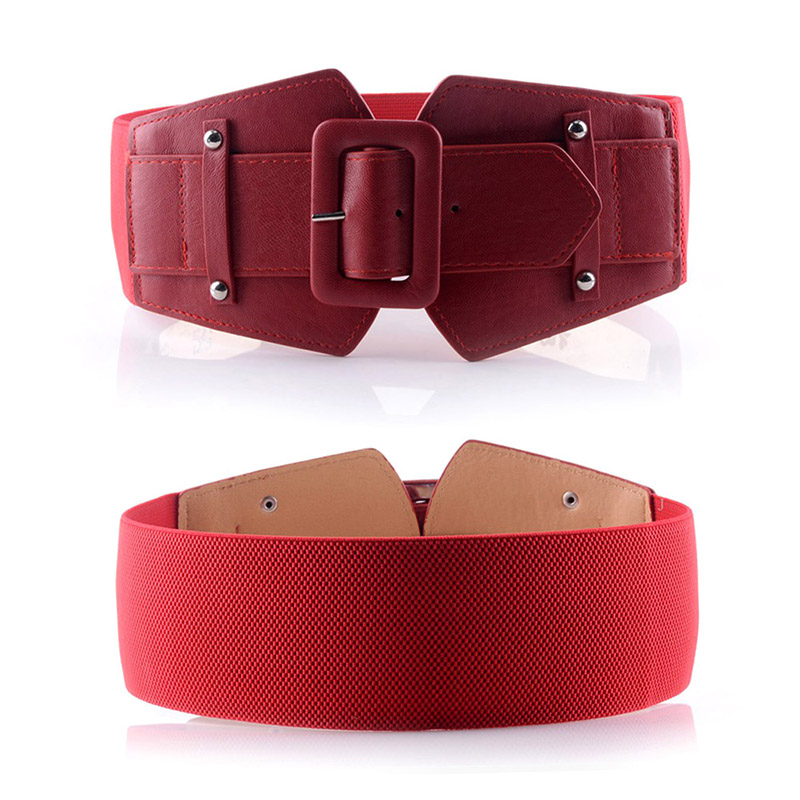 75cm Vintage PU Leather Elastic Belts With Pin Buckle Fashion Decorative Elastic Waist Belt For Women New Solid Color Cummerbund