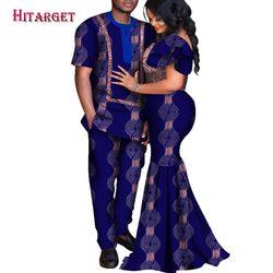 2020 vêtements africains Dashiki Couple amoureux femmes sirène longue robe hommes haut-chemise pantalon 3 pièces Bazin Riche WYQ537