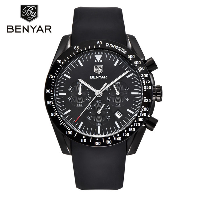 Fashion Casual Sport Watch Mens Watches Top Brand Luxury Waterproof Chronograph Watches For Men Leather Men's Watch | Fotoflaco.net