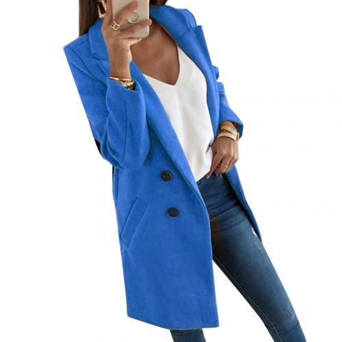 Women Blend Coat Autumn Winter Turn-Down Collar Long Wool Jacket Coat Plus Size Coat Casual Windbreake