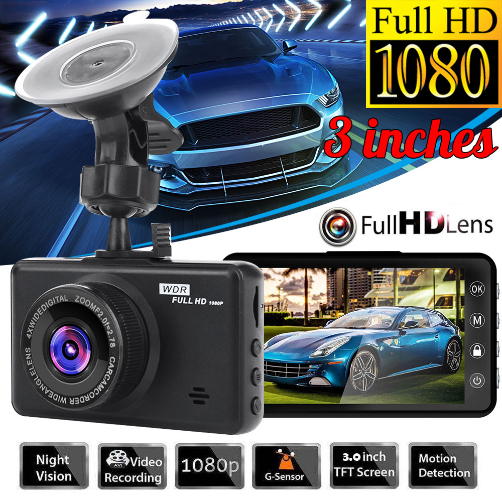 3 Inch Full HD 1080P 32G Car Driving Recorder 170° Vehicle Camera DVR HDR Dash Cam With Motion Detection Night Vision G Sensor