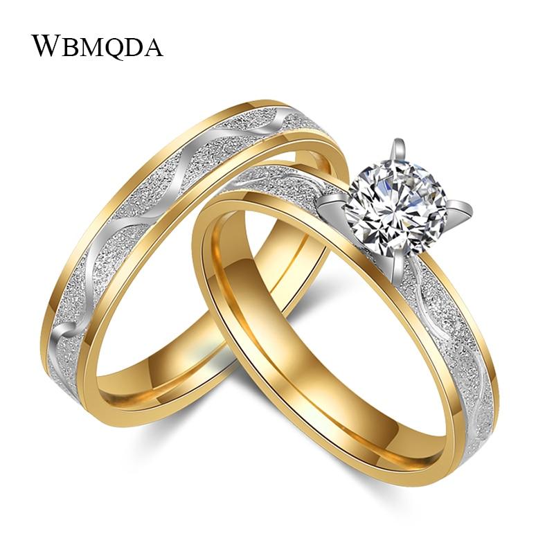 Wbmqda Simples Anel de Casamento Do Aço Inoxidável Para Mulheres Dos Homens Nunca Desaparecer Cor do Ouro Feminino Masculino Clássico Aliança de Noivado Conjuntos Anel