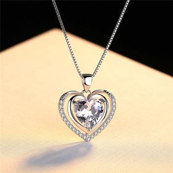 Handmade Rhinestone Pendant Cubic Zirconia Sterling Silver Heart Crystal Necklace
