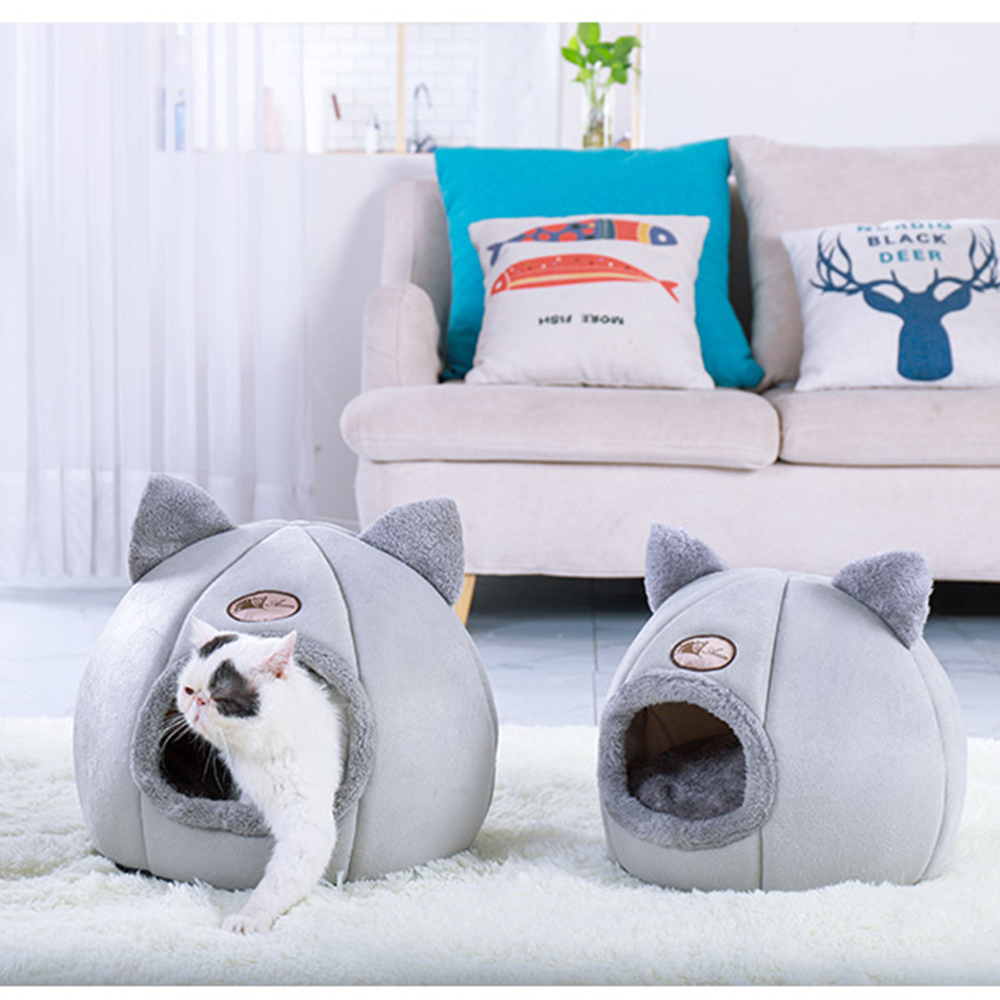 Foldable and Removable Cat Bed Self Warming for Indoor Cat Dog House with Mattress Puppy Cage