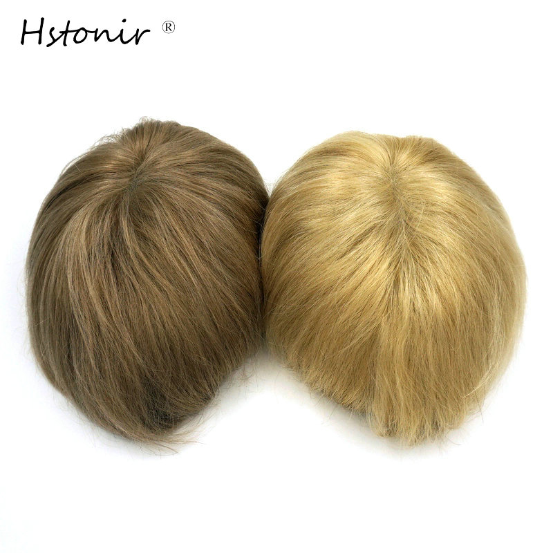 Hstonir Super Silicone Wigs Blond Hair Color Skin Indian Remy Hair Invisable Thinnest Toupee H079