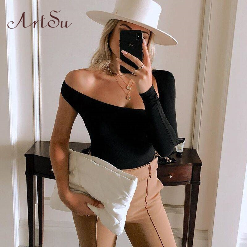 Artsu Solid One Shoulder Sexy Bodysuits Women Scoop Back Skinny Tight Playsuits One Sleeve Top Blouse Casual Tops ASJU70156