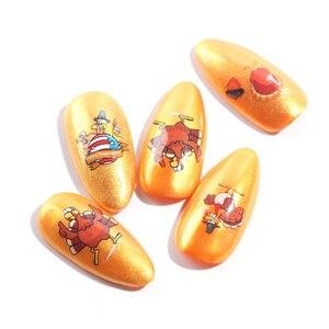 Image 5 - 12 wzorów liście jesienne naklejka do paznokci woda Transfer paznokci artystyczne naklejki Autumb żółty liść klonu turcja paznokcie ozdoby JIBN361 372