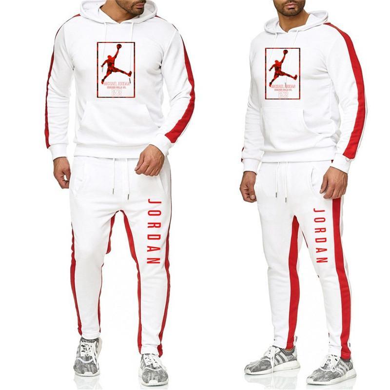 Men's Fashion Black And White Sportswear New Hooded Sportswear Suit Printed Sweatshirt JORDAN23 Brand Clothing + Sports Pants
