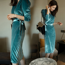 2019 Korean version of the new spring and autumn long section long-sleeved Slim tie was thin gold velvet dress female цены