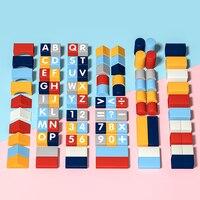 어린이 장난감 기하학적 모양 조립 된 빌딩 블록 디지털 알파벳 인식 나무 장난감 어린이를위한 교육 장난감 선물