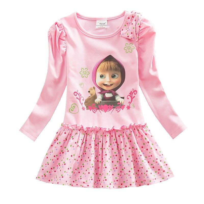 Girls Dresses Masha & The Bear Cartoon Cartoon Printed Cotton Long Sleeve Wavelet Point Autumn Winter Princess Dress
