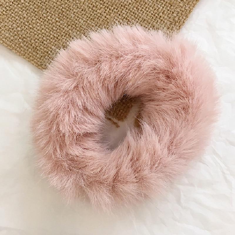 1 мягкий пушистый искусственный мех, пушистый благородный, новинка, шикарные резинки для волос, эластичное кольцо для волос, аксессуары, эластичные розовые резинки для волос - Цвет: 35