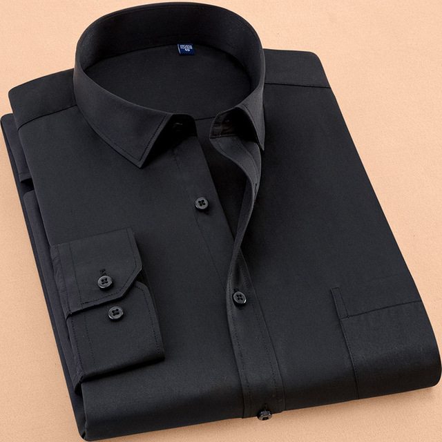 2020 New Fall Men's Dress Shirt Long Sleeve Casual Solid Color Business