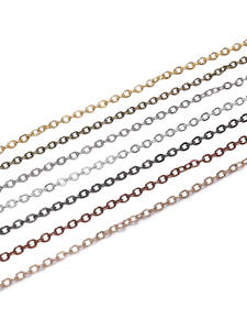 5m/lot Width 1.5 2mm Silver Gold Copper Oval Link Necklace Chain For Jewelry Making Findings