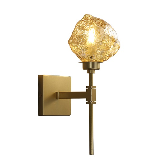 Personality creative postmodern minimalist crystal wall lamp bedroom lamp amber glass LED lights background wall decoration lamp