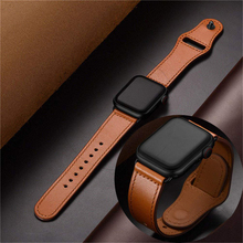 Genuine leather loop strap for apple watch band 42mm 38mm apple watch 4 44/40mm for iwatch series 3/2/1 correa replace bracelet цена