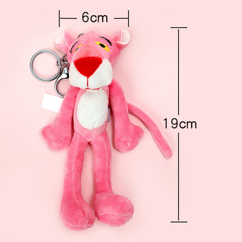 Naughty Leopard Pink Panther Key Chain Plush Stuffed Toys Baby Kids Doll Brinquedos Christmas Gift For Child
