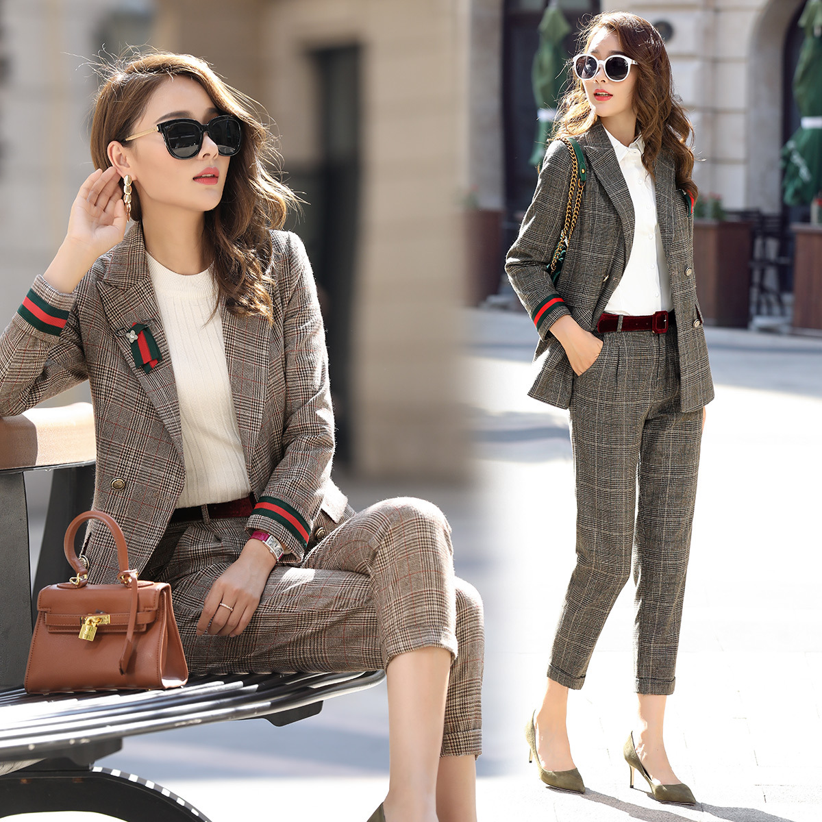 European Goods Spring Clothing British Style Plaid Small Suit WOMEN'S Suit Fashionable Western Style Trousers Suit Business Suit