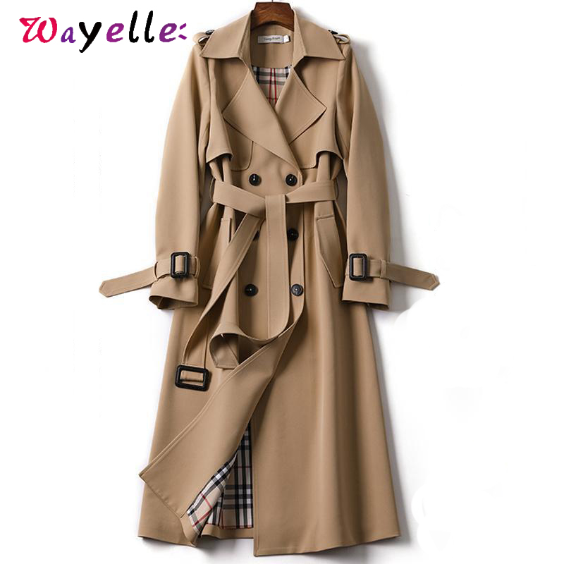 Long   Trench   Coat Women 2019 New Autumn Fashion Classic Double Breasted Belt   Trench   Coat Female Korean Casual Business Outerwear