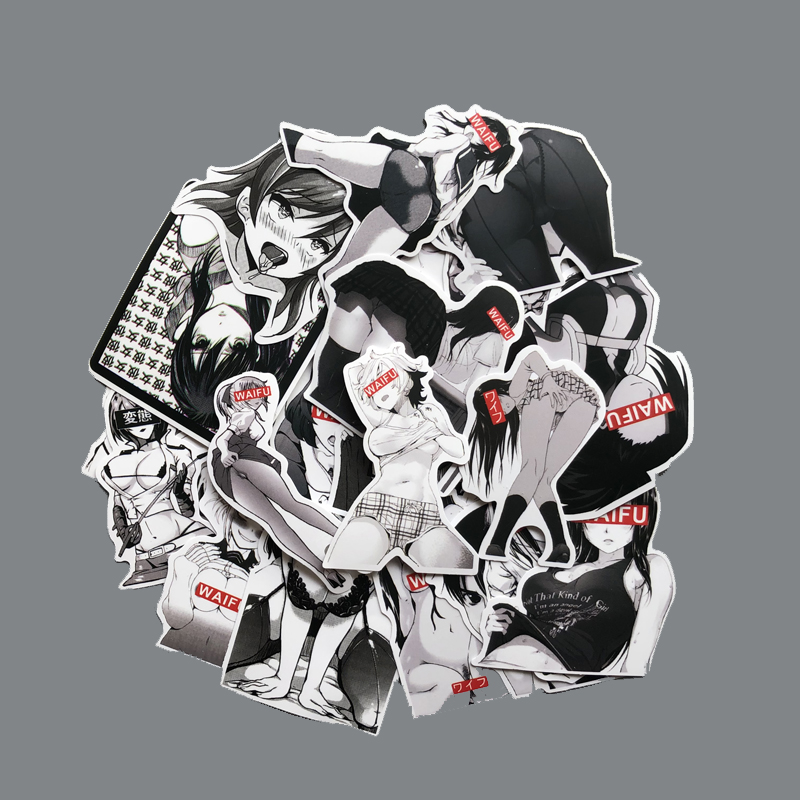 30PCS Black And White Cartoon Bunny Girl Sticker Beauty Otaku Welfare Trend Suitcase Graffiti Sticker For Notebook Fashion