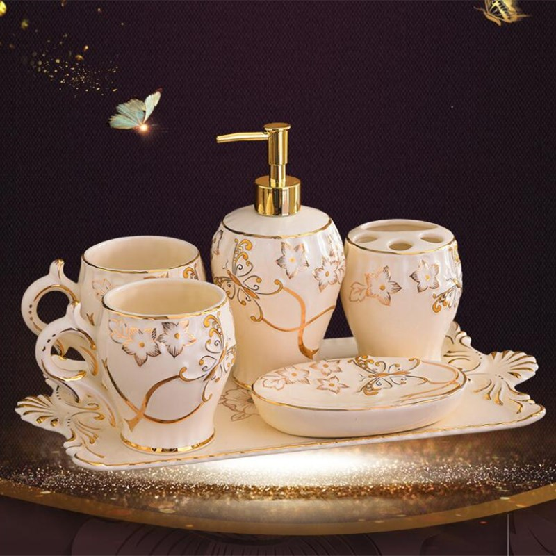 Ceramic and metal gilding Bathroom Accessory Set Washing Tools Bottle Mouthwash Cup Soap Toothbrush Holder Household Articles