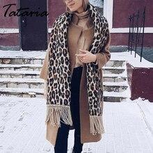 Tataria Sciarpa di Inverno delle Donne per Le Donne Sciarpa Del Leopardo Caldo Morbido Cashmere Addensare Lunghi Scialli e Sciarpe Brown Leopard Poncho
