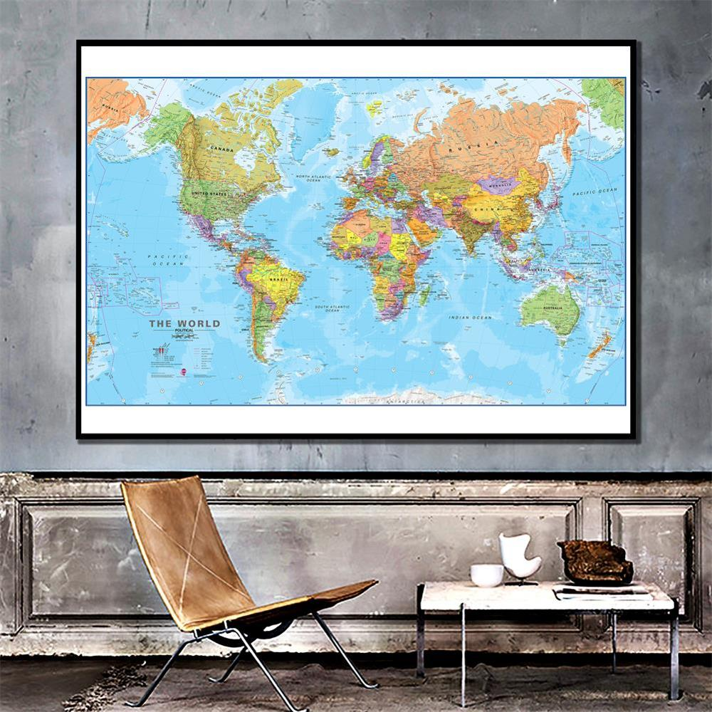 100x150cm The World Physical Map Non-woven Spray World Map Without National Flag For Culture And Education image