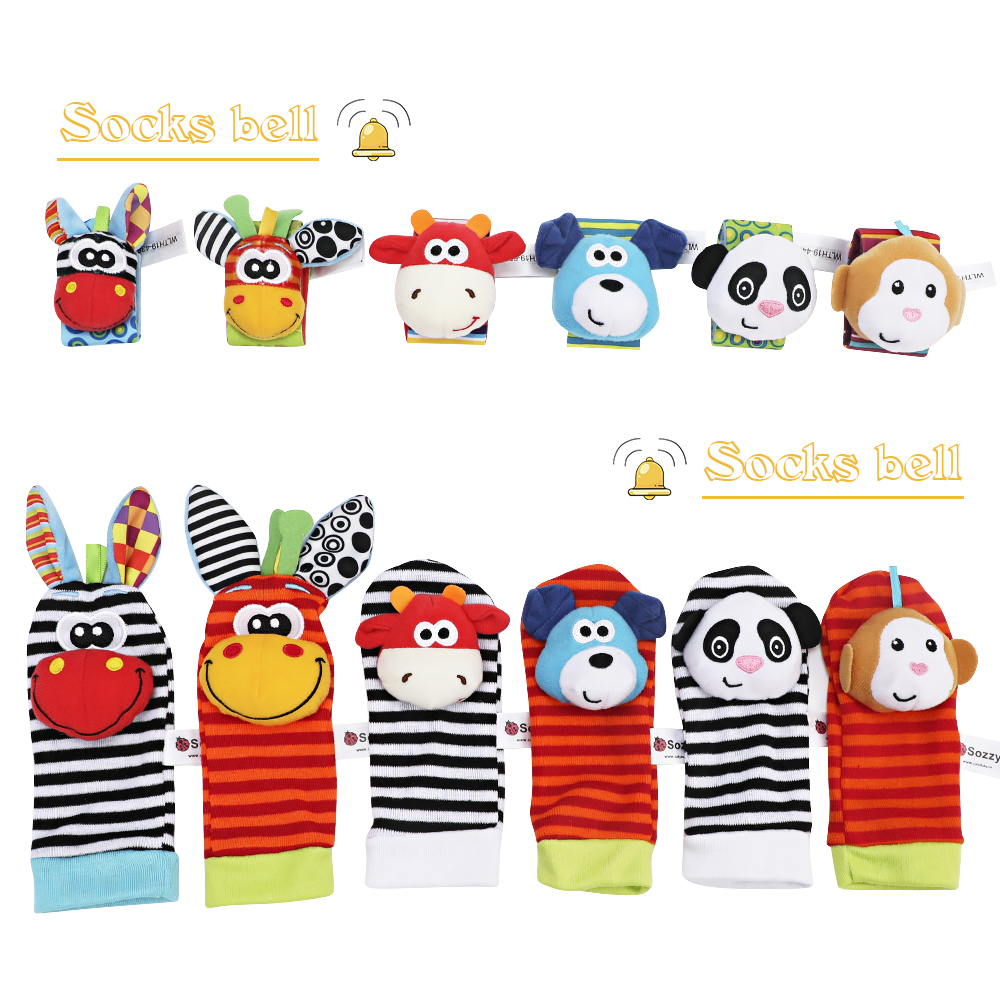 Infant Baby Kids Socks Rattle Toys Wrist Rattle Cute Cartoon Print Socks Wrist Strap With Rattle Baby Rattle Toys Foot Socks