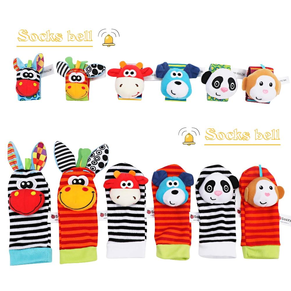 Infant Baby Kids Socks Rattle Toys Wrist Rattle Cute Cartoon Print Socks Wrist Strap With RattleBaby Rattle Toys Foot Socks
