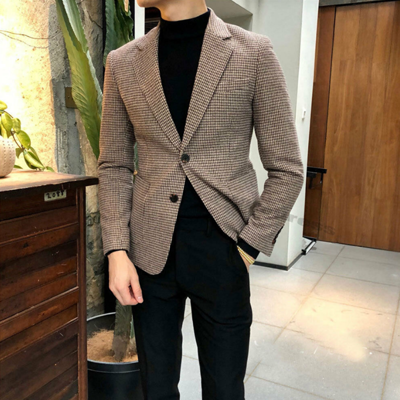 2020 Handsome Men's Houndstooth Dog Tooth Blazer Jacket Tweed Notch Lapel Two Button Leisure Suit Coat