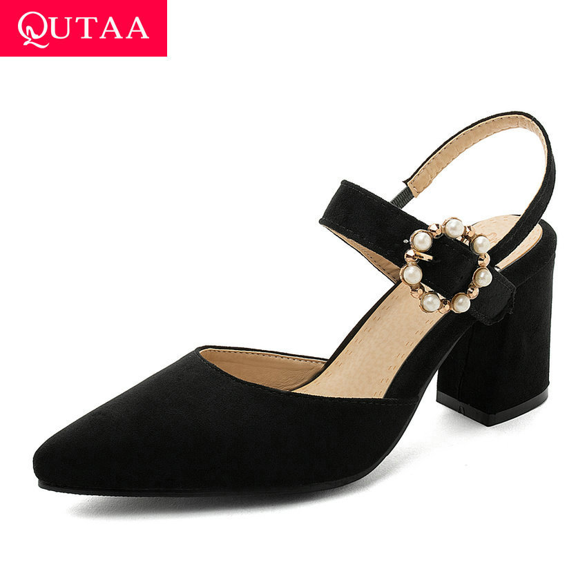 QUTAA 2020 New Summer Pointed Toe Women Shoes Square High Heel Flock Ladies Sandals Bead Buckle Slingback Women Pumps Size 34-43
