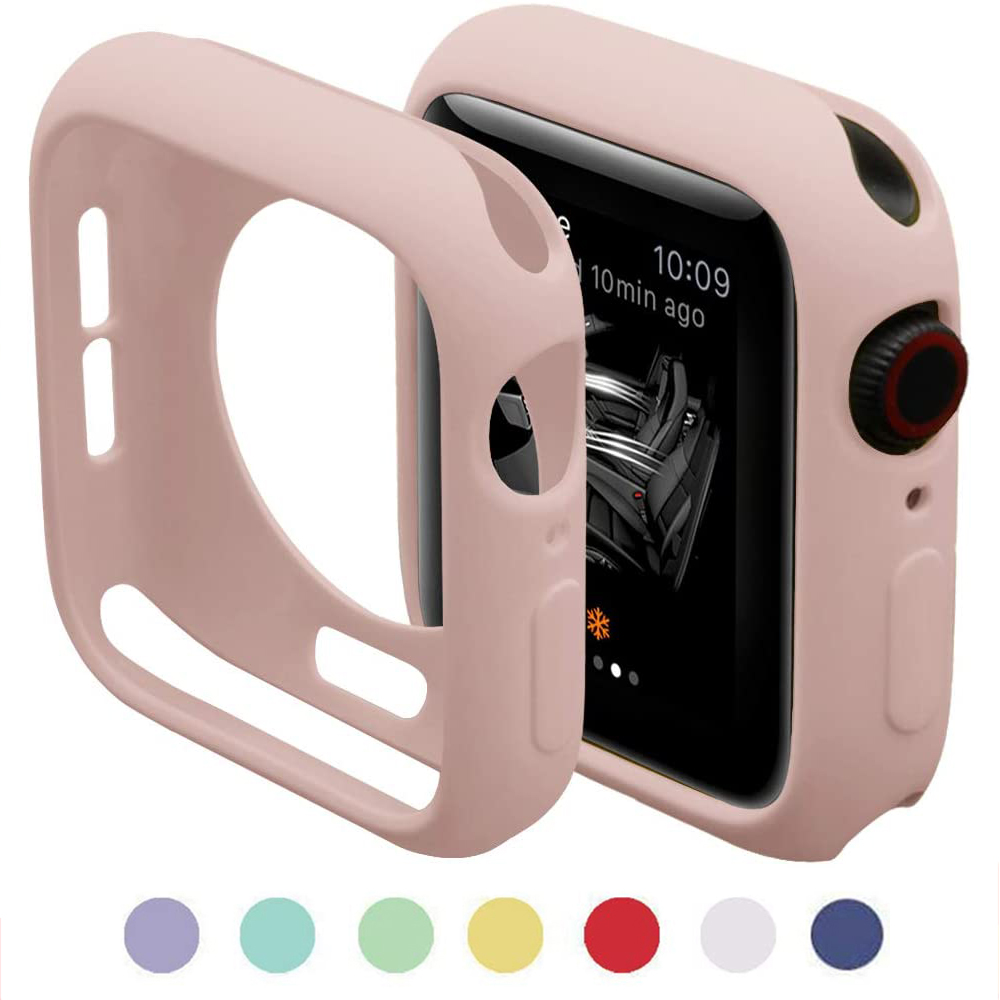 Silicone Case for Apple Watch 6 SE 5 4 3 2 1 42MM 38MM for iWatch 4 5 40MM 44MM Watch Cover Screen Protection Shel Soft Bumper