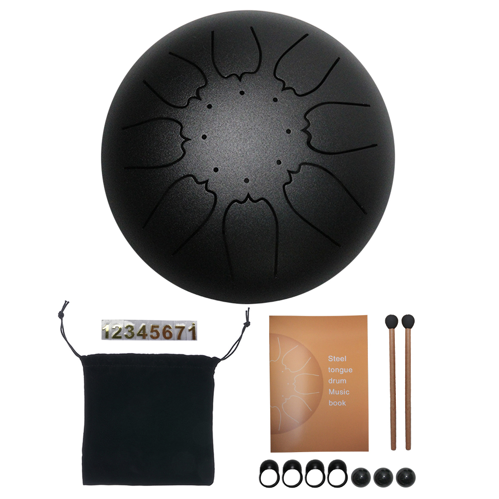Tongue Drum 6 Inch Steel Tongue Drum Set 8Tune 11 Tune Hand Drum Pad Tank Sticks Carrying Bag Percussion Instruments Accessories