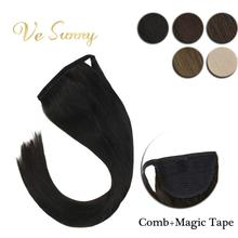 VeSunny Ponytail Extensions Wrap Around Magic Tape with Comb 100% Human Hair Highlights Color 14inch – 22inch