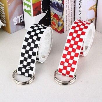 Cinturón Harajuku a cuadros para parejas, negro y blanco, cinturón de lona larga para mujer