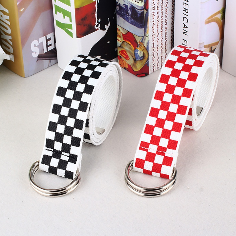 Women Harajuku Checkerboard Couple Belt Black White Plaid Long Canvas Belt Waistband