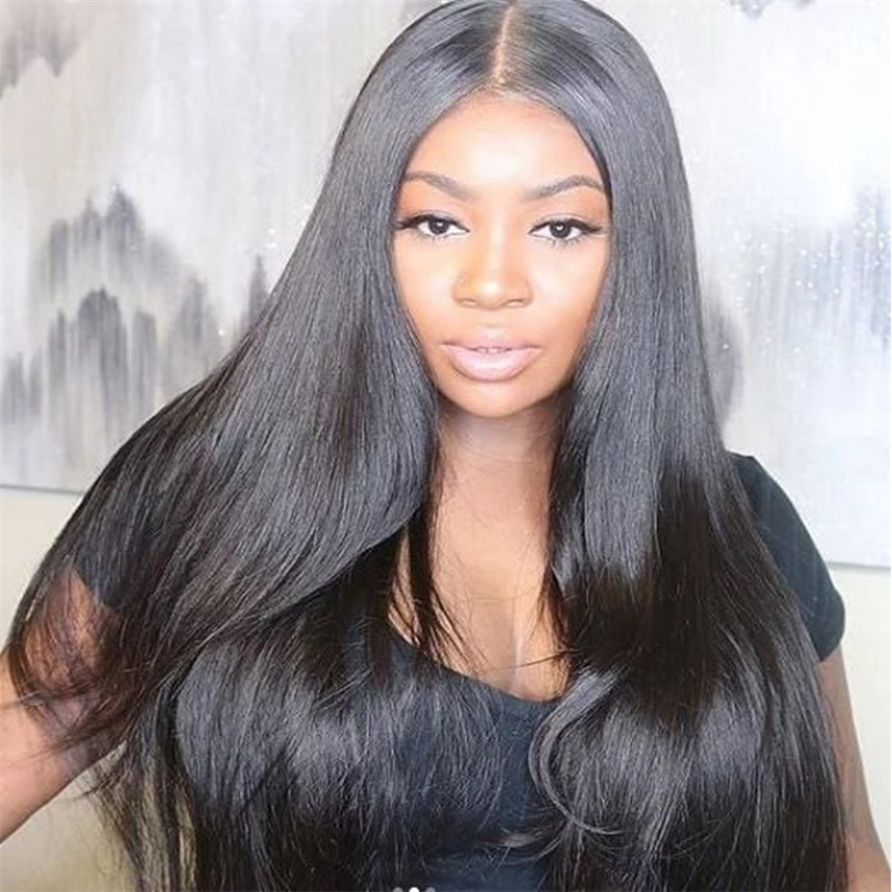 Silky Straight Natural Black Wig Long Lace Front Synthetic Wigs For Women Black Color Heat Resistant Hair 18-26 Inches