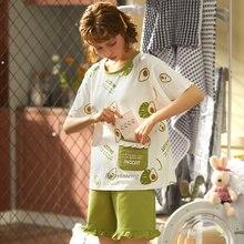 2020 Women's Pajama Set 100% Cotton Sleepwear For Women Pyjamas Cartoon Causal Nightwear Ladies