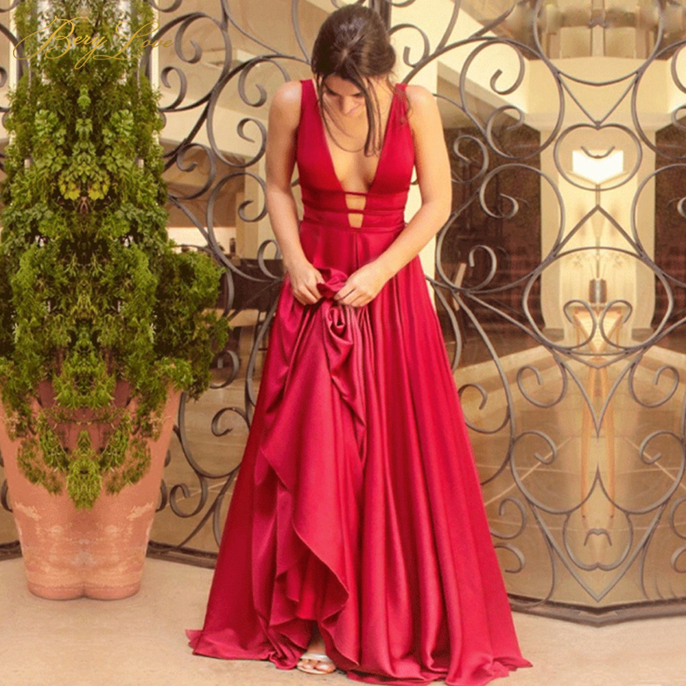 Sexy Red Evening Dress 2019 New Arrival Elegant Satin Evening Gown Long Formal Abiye Prom Party Dress Vestido Longo Festa