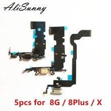 AliSunny 5pcs טעינת נמל Flex כבל עבור iPhone 8 בתוספת 8G 4.7 8 בתוספת X USB Dock מחבר מטען מיקרופון תיקון חלקים
